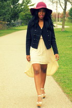 black H&M blazer - cream Forever 21 dress - magenta H&M hat