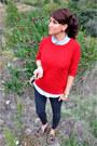 Sweater-mango-jumper-denim-shirt-stradivarius-shirt-zara-pants
