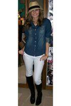 white Wet Seal jeans - blue Wet Seal shirt - black Berlington Coat Factory boots