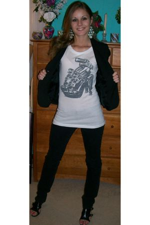 black Wet Seal jeans - white Forever 21 t-shirt - black anne taylor loft blazer