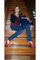 blue Forever 21 cardigan - blue hollister jeans - red Fioni shoes - red Forever