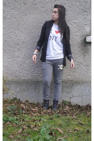 black Yesstyle blazer - white t-shirt - silver Yesstyle pants - black Topshop