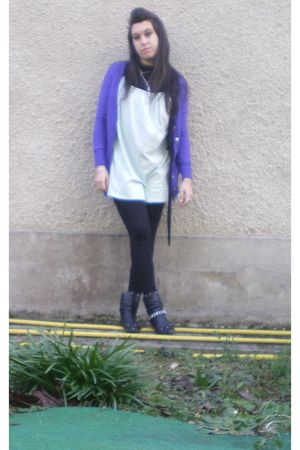 purple Yesstyle cardigan - blue American Apparel dress - black leggings - black