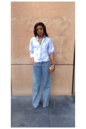 cotton c&a shirt - jeans unknown pants - necklace - gold H&M bracelet