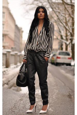 white striped Zara blouse - black Zara bag - black pointy JW Anderson pumps