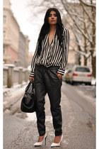 white striped Zara blouse - black Zara bag - black pointy JW Anderson pumps