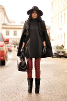 black Isabel Marant boots - black fedora warehouse hat - doctors Zara bag