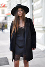 Black-ankle-acne-boots-black-slip-zara-dress-black-oversized-mango-coat