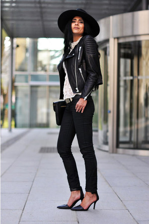skinny H&M jeans - fedora H&M hat - biker H&M jacket - H&M belt