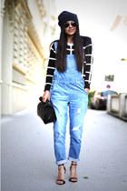 black beanie H&M hat - black lunch Zara bag - black aviator ray-ban sunglasses