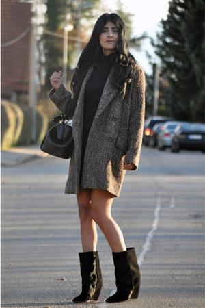 camel boyfriend Mango coat - black lazio Isabel Marant boots