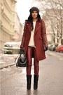 Black-lazio-isabel-marant-boots-maroon-biker-zara-coat-black-h-m-hat