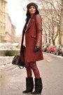Black-lazio-isabel-marant-boots-maroon-biker-zara-coat-black-h-m-hat