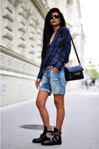 black cut out buckle balenciaga boots - blue plaid draped Zara shirt