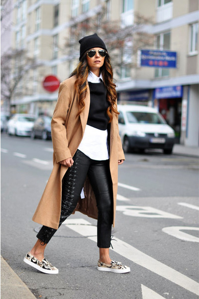 camel asos coat - beanie H&M hat - Zara shirt - slip on Zara sneakers
