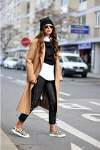 camel asos coat - beanie H&M hat - Zara shirt - slip on Zara sneakers