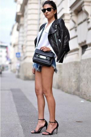 black leather H&M jacket - white draped Zara shirt - black PROENZA SCHOULER bag