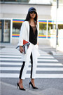 White-cocoon-zara-coat-carrot-orange-clutch-zara-bag