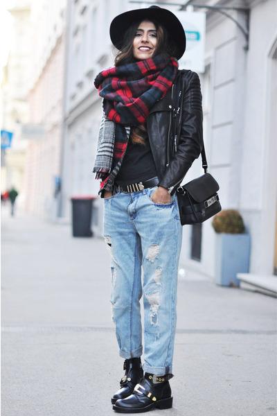 plaid Zara scarf - cut out balenciaga boots - boyfriend Zara jeans