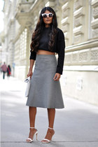 clutch Zara bag - cat eye asos sunglasses - strappy Zara heels - midi Zara skirt