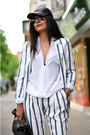 White-striped-zara-blazer-black-cap-asos-hat-white-draped-zara-shirt