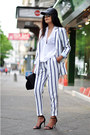 Black-cap-asos-hat-white-striped-zara-blazer-white-draped-zara-shirt