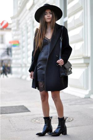 black ankle acne boots - black slip Zara dress - black oversized Mango coat