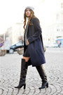 Black-h-m-boots-navy-pinstripe-mango-coat-silver-beanie-topshop-hat