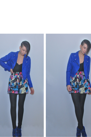 blue H&amp;M jacket - black sonia rykiel pour h&amp;m top - black H&amp;M top - pink River I