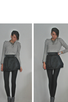 gray Zara Trf sweater - black H&M skirt - black H&M panties - gray Timelight sho