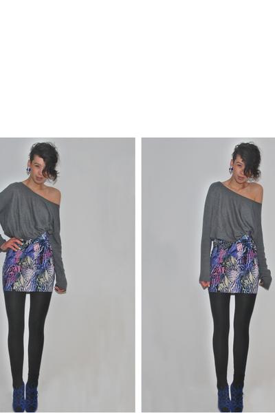 gray H&M sweater - blue River Island skirt - black H&M tights - blue Primark sho