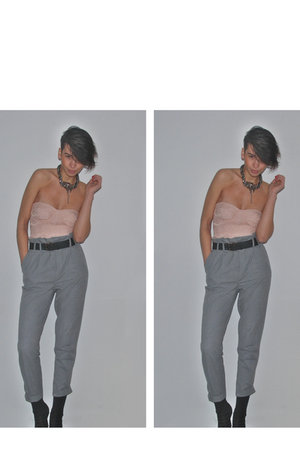 beige Zara Trf top - gray own design necklace - gray Zara pants - black new look
