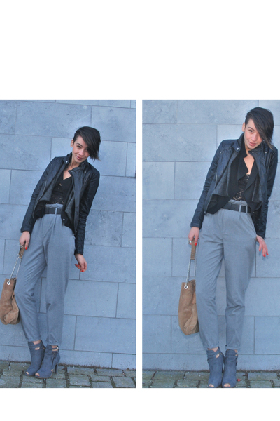 black Bershka jacket - black H&M cardigan - black Zara cardigan - black sonia ry