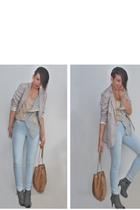 beige H&M jacket - beige warehouse top - blue Vero Moda jeans - gray Timelight s