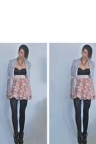 beige H&M blazer - silver own design accessories - black H&M top - pink H&M skir
