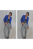 blue H&M jacket - black sonia rykiel pour h&m top - gray Zara pants - gray Timel