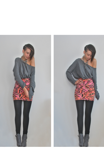 gray H&M sweater - gray own design accessories - orange River Island skirt - bla