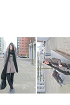 beige Zara jacket - black H&M men scarf - black H&M tights - gray Timelight shoe