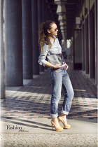 blue boyfriend Diesel jeans - light blue jeans Tommy Hilfiger shirt