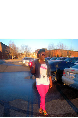 jacket - cazal 852 sunglasses - Via Spiga shoes - pink jeans - Marciano top
