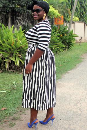 asos skirt - black cat eye Gucci sunglasses - stripes asos top