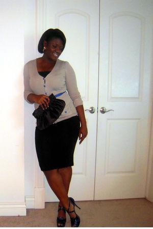 black pencil skirt asos skirt - LAMB shoes - gray modcloth sweater