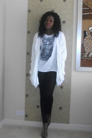 white Vero Moda t-shirt - orange H & M shoes - black Topshop leggings