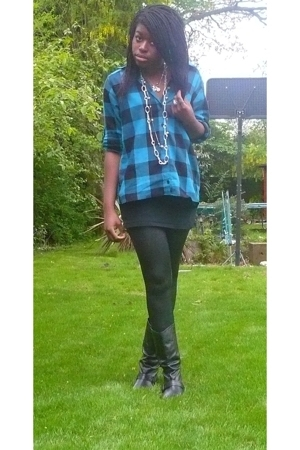black vest H&M DIY skirt - black Dorothy Perkins boots