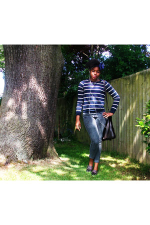 blue Topshop sweater - silver new look jeans - brown River Island shoes - brown