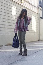 silk Forever 21 blouse - combat boots Vince Camuto boots