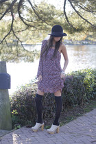 pleated vintage dress - wool H&M hat - shear American Apparel socks