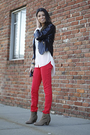 Ruby and Jenna bracelet - suede sam edelman boots - J Brand jeans