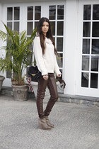 faux leather H&M pants - suede  leather Dolce Vita boots - H&M sweater