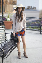 suede sam edelman boots - felt Urban Outfitters hat - wool vince sweater